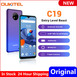 OUKITEL C19 6.49 Inch Smartphone Android 10.0 4 Rear Cameras Quad Core 2G RAM 16G ROM 4000mAh Global Version Mobile Phone oukite