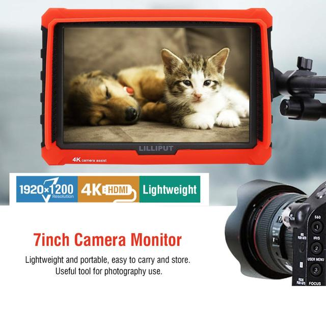 LILLIPUT A7S 7 นิ้วหน้าจอ IPS 1920*1200 4K Full HD Monitor กล้องมุมกว้าง 170 องศาสำหรับกล้อง DSLR