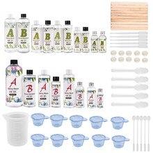 Résine cristal époxy AB, petite bouteille de colle 1:1 3:1 AB avec cadeau gratuit, 1 ensemble de moules en résine, outils de fabrication de démarreur