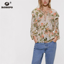 ROHOPO Top Ruffled Pink Rose Floral Long Sleeve Blouse Bandage Round Collar Chic Holiday Autumn Top Shirt #2250 flower embroidered long sleeve ruffled top