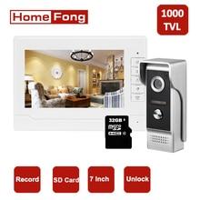Homefong Video Door Phone 7 Inch Record Video Intercom Monitor and Doorbell Camera Night Vision SD Card