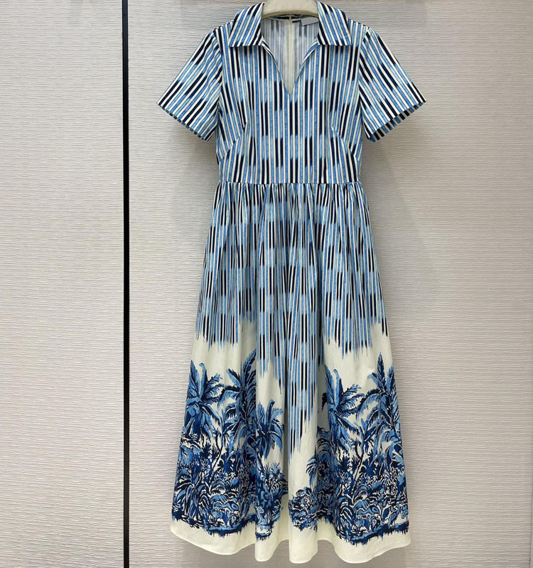 2021 summer women high end designer striped trees print cotton midi dresses short sleeve v-neck elegant holiday dress S176