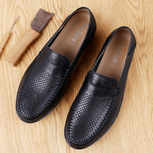 Male Slip on Shoes Summer Moccasins Men Hole Loafers Breathable Flat Business