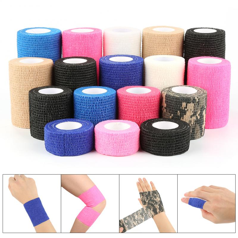 2.5cm*5m Self-Adhesive Elastic Bandage First Aid Medical Health Care Treatment Gauze Tape Sports Support Survival First Aid Tool
