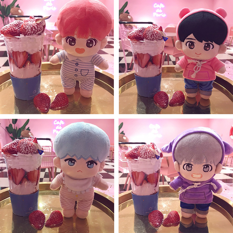 Fashion Korea Cartoon Plush Dolls Toys Plush Stuffed Doll Superstar Cute With Clothes Toy Gifts Collection For Kids Birthday