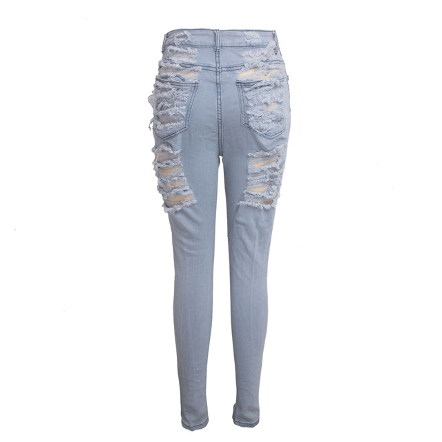 2019 Fashion Clothes Women Slim Pants Washed Ripped Hole Gradient Long Jeans Denim Sexy Regular Pants Plus Size S-2xl#35 4