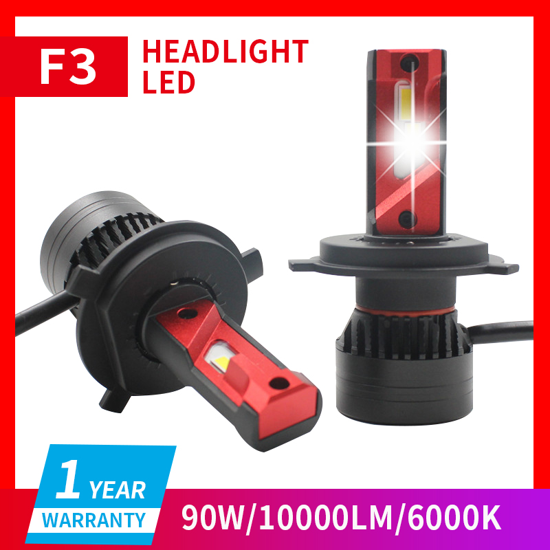 1 Set H11 F3 Car LED Headlight 9003 H7 H8 H9 H4 9005 9006 HB3/4 9012 HIR2 90W <font><b>10000LM</b></font> G-XP Chips Turbo Fan 6K Front Lamps Bulbs image