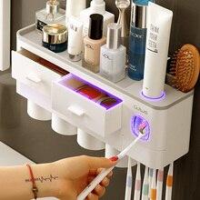 ONEUP nuevo soporte de cepillo de dientes dispensador automático de pasta de dientes con taza de montaje en la pared de artículos de tocador estante de almacenamiento accesorios de baño conjunto