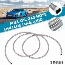 Alta pressão 3 metros AN4 AN12 mangueira de combustível do carro de aço inoxidável fim mangueira de óleo tubo de linha de gás trançado turbo tubo de refrigerador de óleo universal