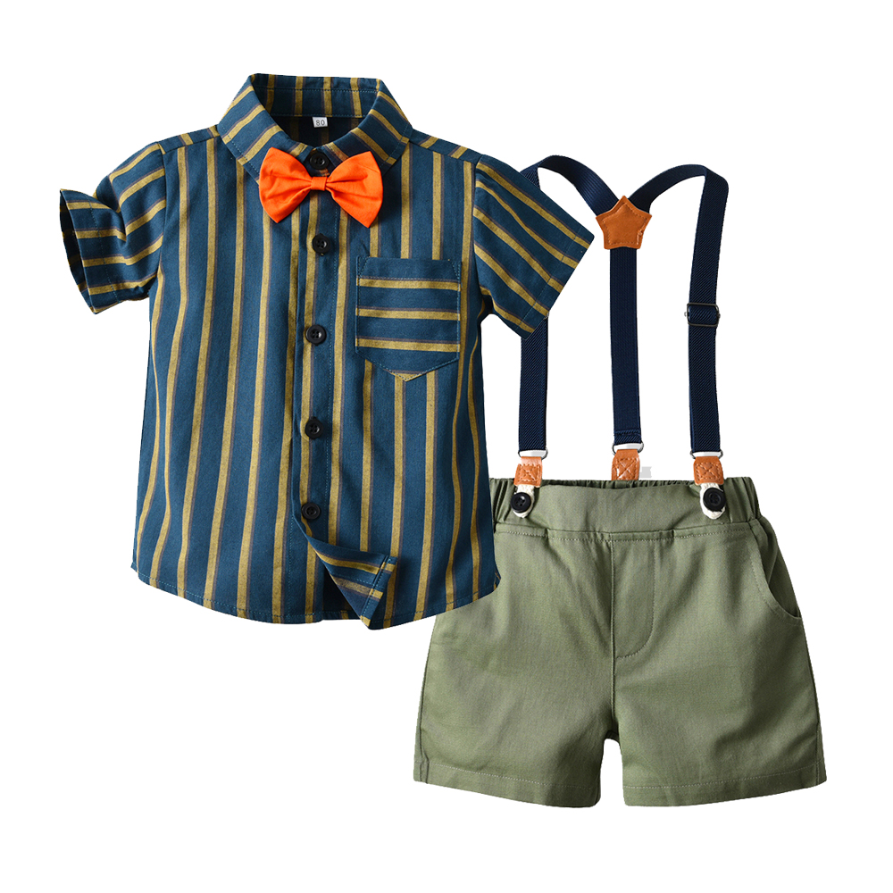 Top and Top Brand Boys Clothes Gentleman Suit Cotton Bow Tie Short Sleeve Tops Pants Casual Outfits Kids Party Wear Clothing Set 1