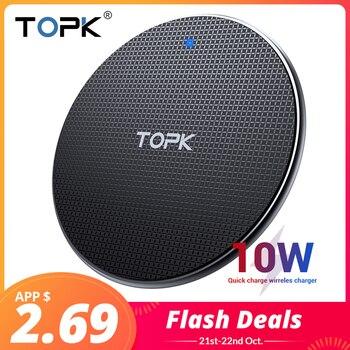 TOPK cargador inalámbrico para iPhone Xs Max X 8 10W rápido almohadilla de carga para Samsung Nota 9 Nota 8 S10 Plus