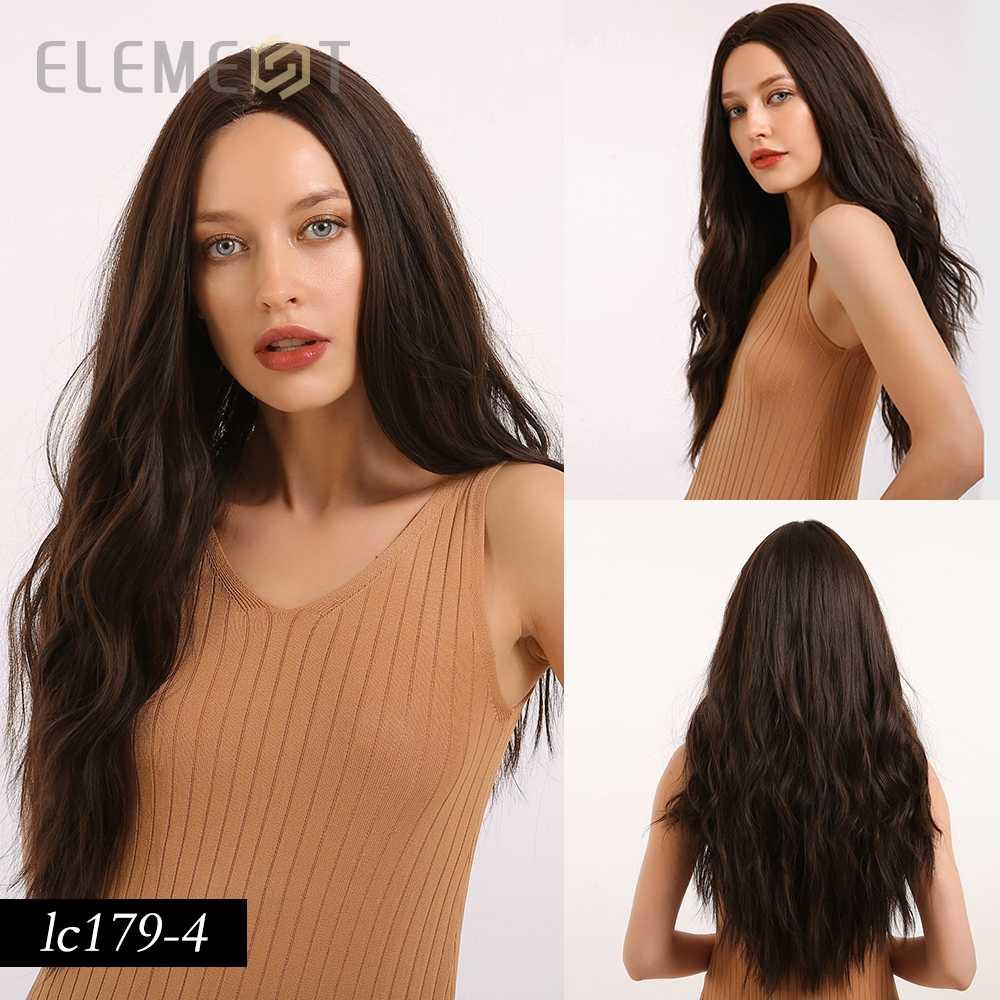 Elemen Pusat Bagian Sintetis Akar Gelap Coklat Muda Ombre Abu-abu Panjang Bergelombang Rambut Wig Cosplay Kostum Wig untuk Putih Hitam wanita