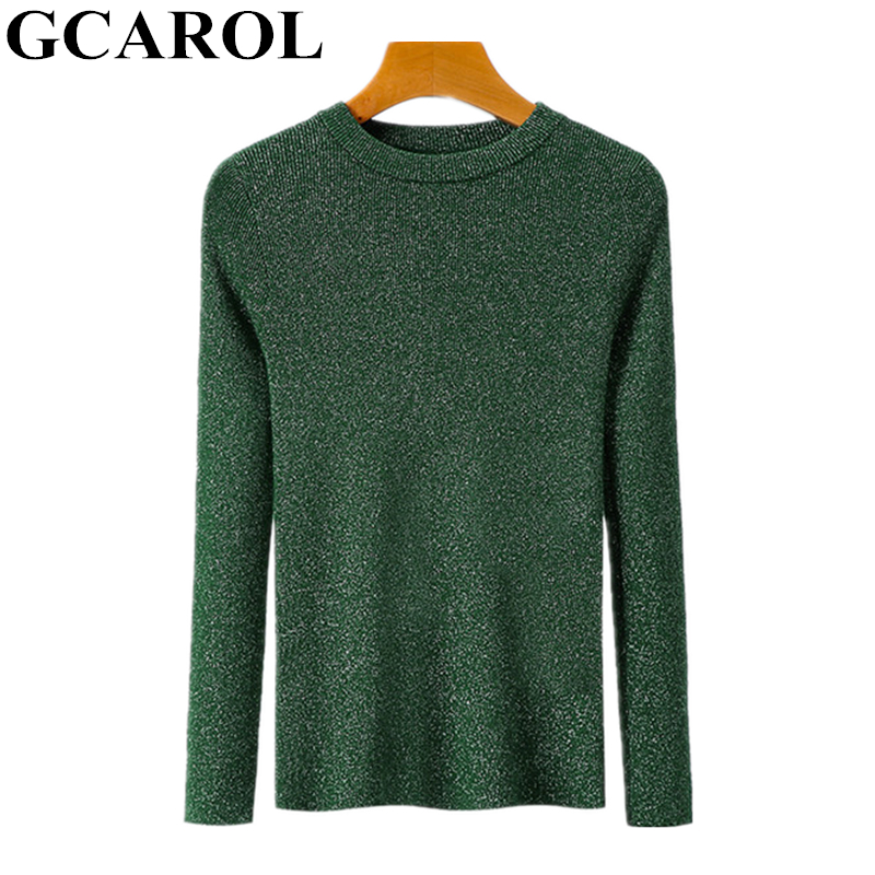 GCAROL femmes ligne lumineuse fil chandail O cou Stretch Slim court tricoté pull automne hiver OL bureau pull rendre hauts en tricot