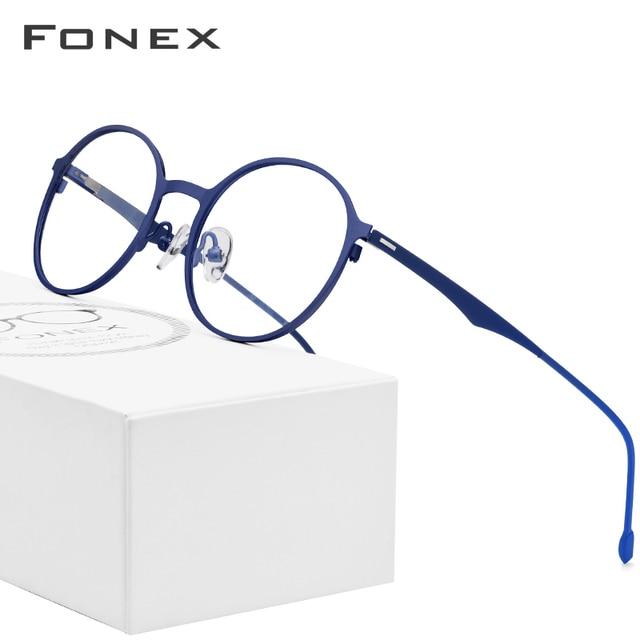 ラウンド処方メガネ、超軽量のチタン合金近視メガネフレーム、韓国スタイル無ねじ処方メガネ、男女共用 8821