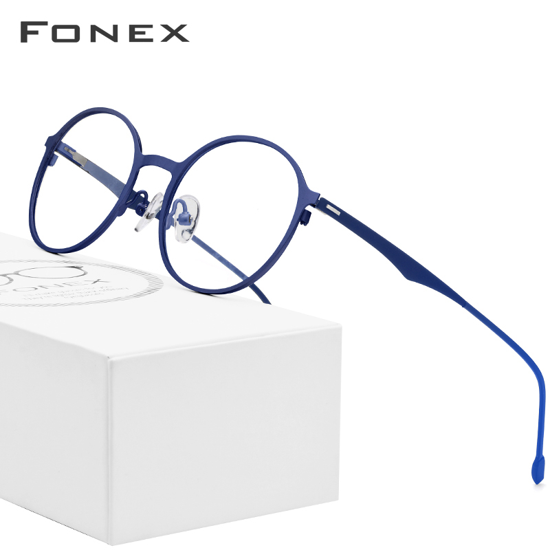 FONEX Alloy Round Glasses Men Ultralight Eye Glasses For Women Prescription Myopia Optical Eyeglasses Frame Screwless Eyewear