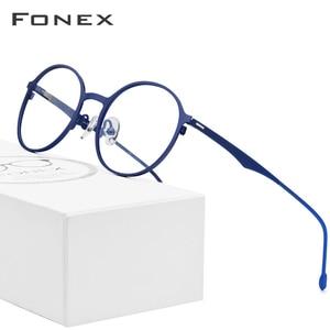 Image 1 - FONEX Alloy Round Glasses Men Ultralight Eye Glasses for Women Prescription Myopia Optical Eyeglasses Frame Screwless Eyewear