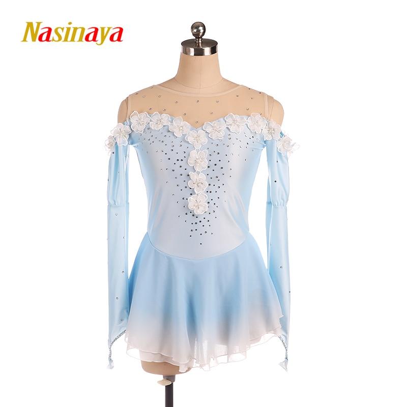 Nasinaya Figure Skating Dress Light Blue Color Customized Competition Ice Skating Skirt For Girl Women Kids Patinaje Flower