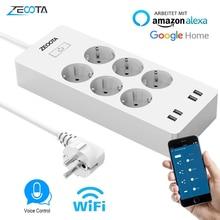 WiFi Smart Power Strip EU Surge Protector 6 Way AC Socket 4 USB Portสวิทช์ควบคุมเข้ากันได้กับAlexa google Assistant