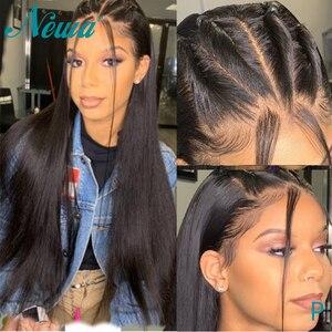 Perucas completas retas do cabelo humano do laço pré arrancadas perucas completas brasileiras do laço descorado nós newa remy do cabelo 13x6 perucas frontais do laço