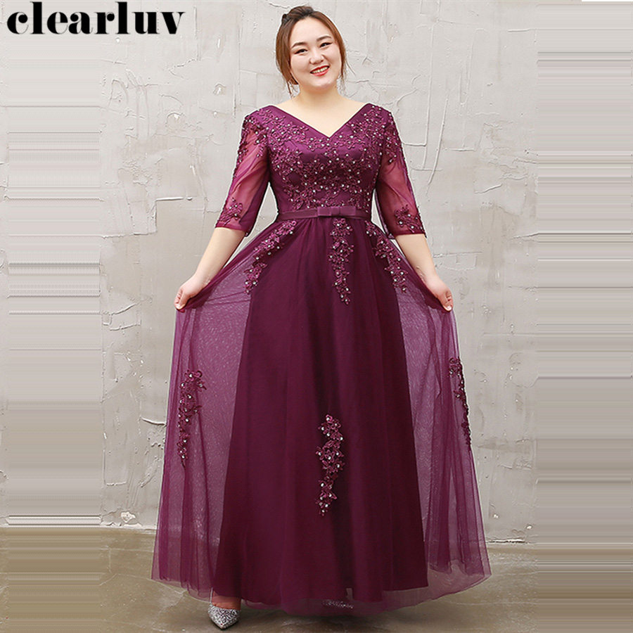Evening Dress V-Neck Three Quarter Sleeve Robe De Soiree Women Party Dresses 2019 Plus Size Sequins Embroidery Formal Gowns T076