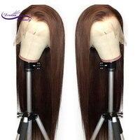 Dream Beauty, кружевные передние человеческие волосы, парики, прямые, коричневый цвет, 13X6, кружевные передние волосы, парики с детскими волосами, ...