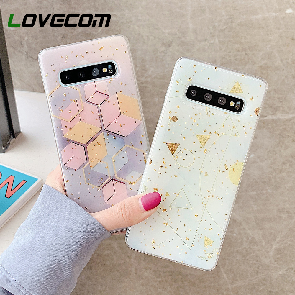 LOVECOM Phone Case For Samsung Galaxy Note 10 Pro S10 S9 Plus Note 9 A7 A9 2018 Geometric Gold Foil Soft Epoxy Back Cover Coque image