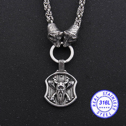 dropshipping handmade chain stainless steel Norse Bear head necklace Viking thor's hammer mjolnir pendant necklace Men gift