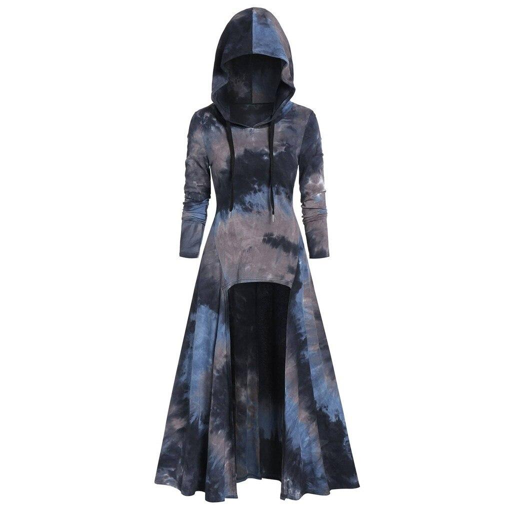 Fashion Womens Sweatshirt Oversized Hooded Plus Size Vintage Cloak High Low Dress 2020 Autumn Blouse Tops sudadera mujer(China)