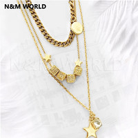 Three Layer Necklace Fashion Luxury Four Seasons Square Star Pendant Necklace Party Beautiful Pretty Jewelry Gift