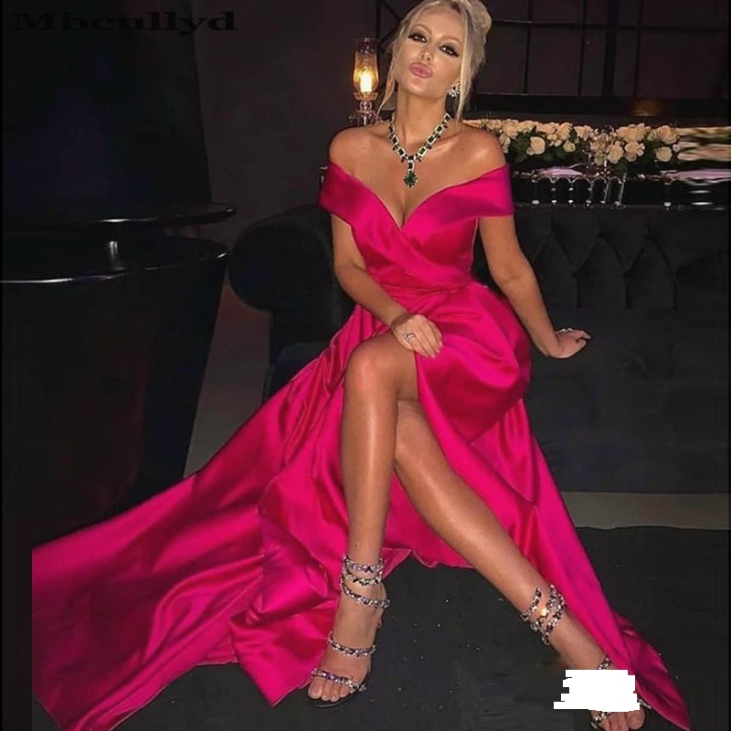 Mbcullyd High Split Fuchsia Prom Dresses Long Sexy Off Shoulder Vestido De Festa For Black Girls Formal Cocktail Party Gowns