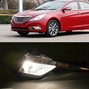 Image 5 - Car Flashing 2Pcs DRL fog lamp cover Daytime Running Lights headlight 12V Daylight For Hyundai Sonata 8  2013 2014