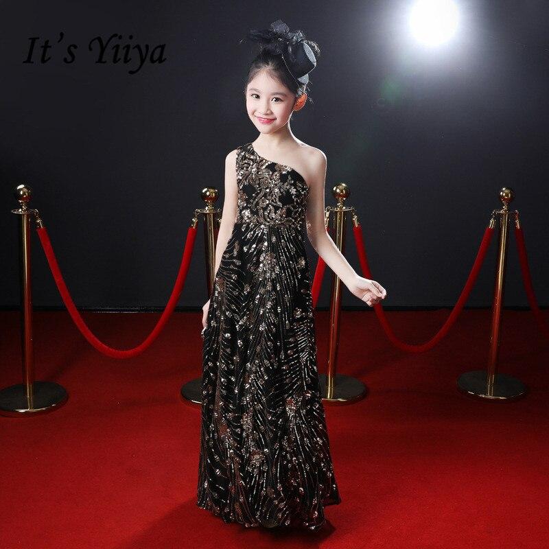 Flower Girl Dress For Wedding It's Yiiya  B084 One Shoulder Shining Glitter Communion Gowns Black Sleeveless Flower Girl Dresses