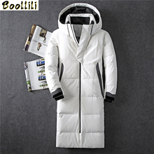2020 Winter New Down Jacket Men 90 White Duck Down Men X-Long Section Casual Thickening Warm Youth Men #8217 S Hooded Down Coat cheap REGULAR 8013 zipper Full PATTERN Pockets Wave Cut Zippers Thick (Winter) Broadcloth Acetate Polyester Hat Detachable 250g-300g