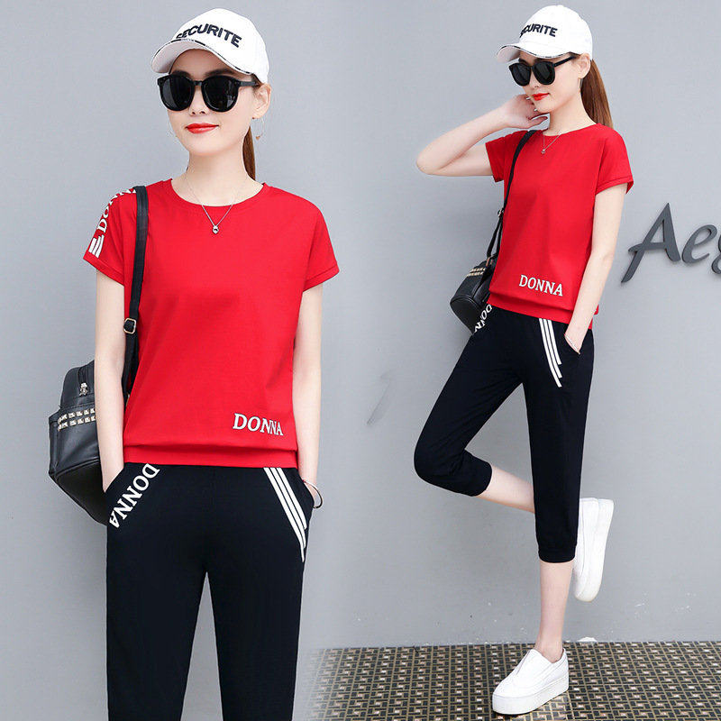 Casual Sports WOMEN'S Suit Summer 2019 New Style Korean-style Loose Short Sleeve Clothes Capri Pants Two-Piece Set Fashion