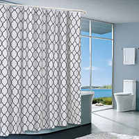 Hot Sale Printed Shower Curtains Morocco Pearl Textured Fabric Bathroom Curtains 72 by 72 Inches with 12 Hooks