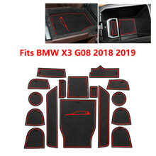 New 1set For BMW X3 G08 2018 2019 Car Interior Door Groove Mat Rubber Armrest box pad Cup Holde Non-slip mats Gate slot pads(China)