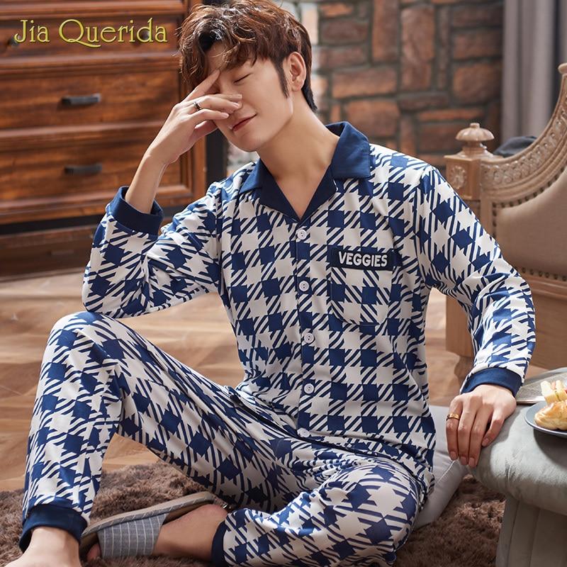 New Turn Down Collar Plus Size Men Pyjamas Men Pj Set Pajamas Sets Homeclothes Homesuit Long Sleeve Long Pants Plaid Printing