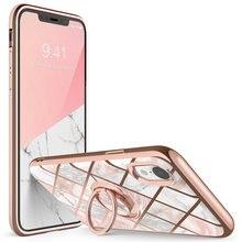 Dla iphone XR Case i blason Cosmo Snap Slim marmurowa pokrywa z wbudowanym 360 ° obrotowy uchwyt pierścienia podpórka wsparcie uchwyt samochodowy