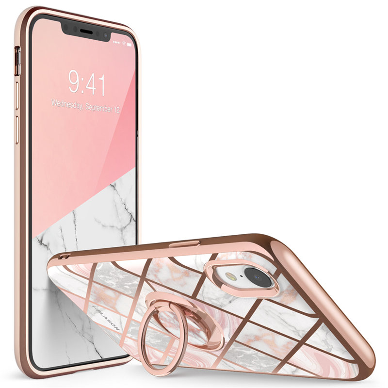 For iphone XR Case i Blason Cosmo Snap Slim Marble Cover with Built in 360° Rotatable Ring Holder Kickstand Support Car Mount Fitted Cases     - title=