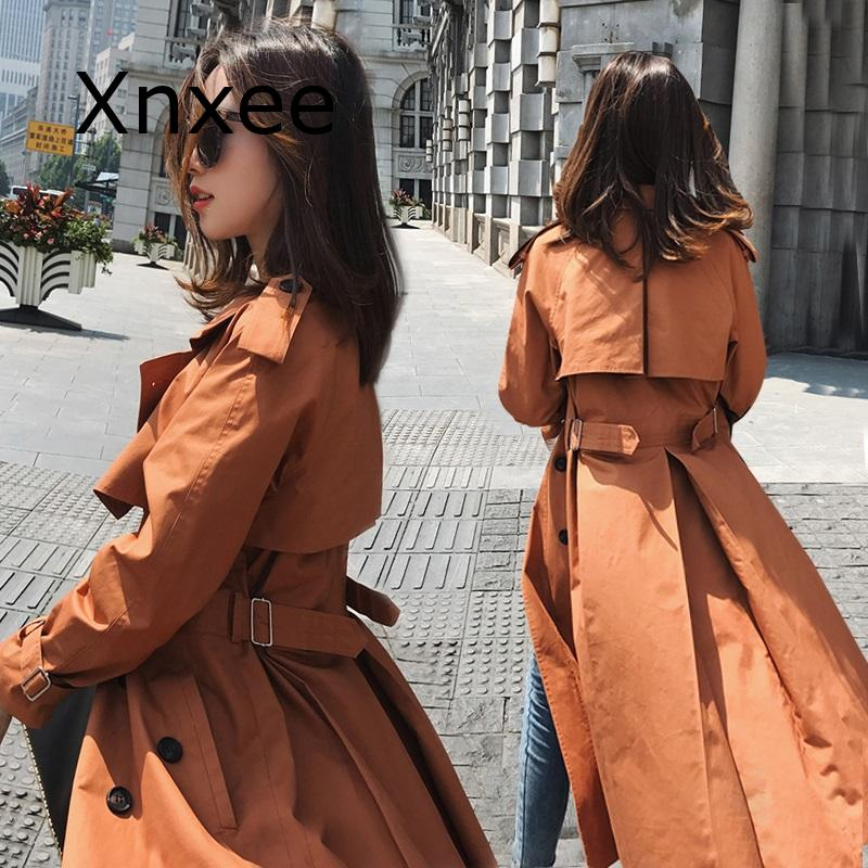 Cloak Dust Coat Spring Women's Clothes Trench Coat Stylish Double Breasted Long Windbreakers Slim Waist Outerwear