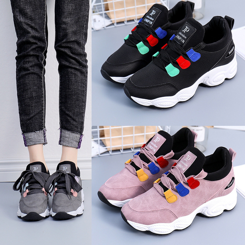 Womens Flat Shoes 2020 Spring Autumn New Fashion Lace Up Platform Loafers Sports Casual Shoallow Shoes Women Chunky Sneakers