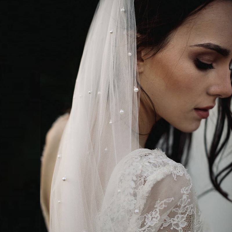 Long One Layer Pearls Bridal Veils Elegant Wedding Veil With Comb Long Woman Veil Wedding Accessoire