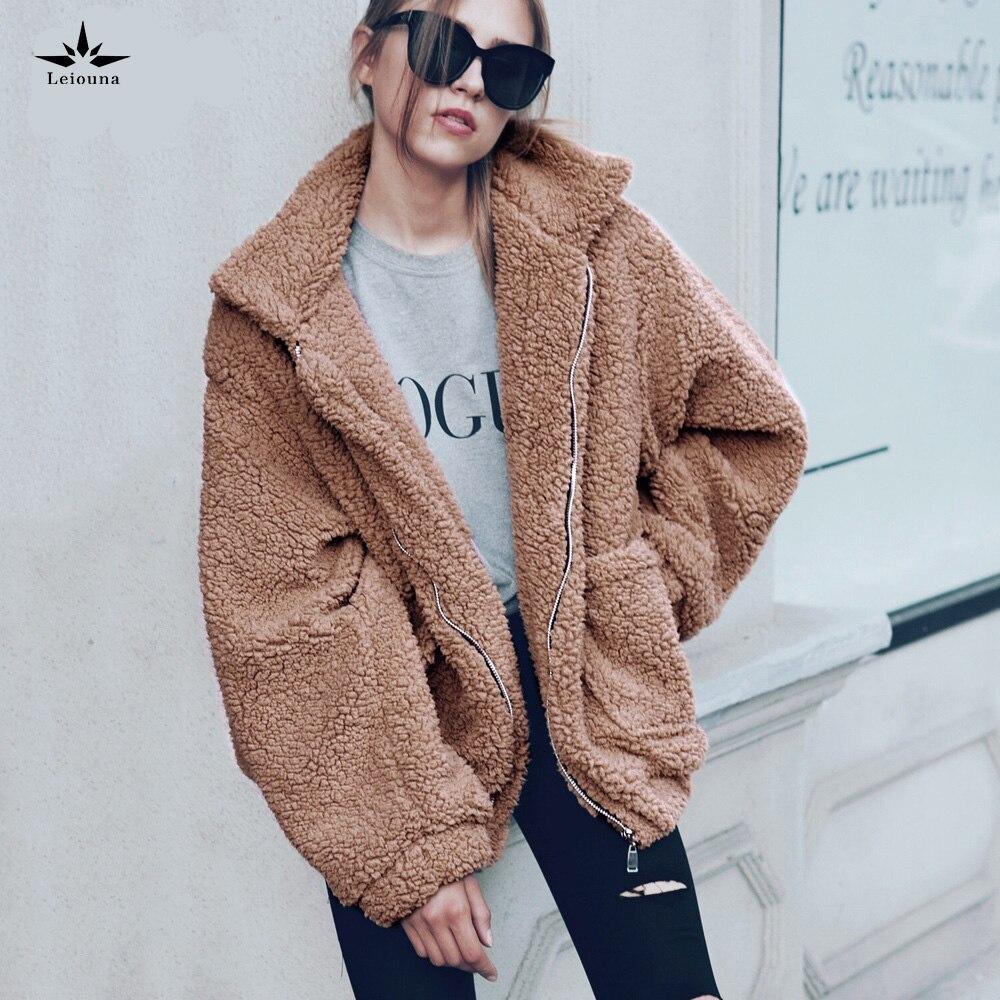 Leiouna O-Neck Zipper New Fur Streetwear Teddy Loose Coat Plus Size Parka Office Lady Female Basic Jacket Winter Women  Furry