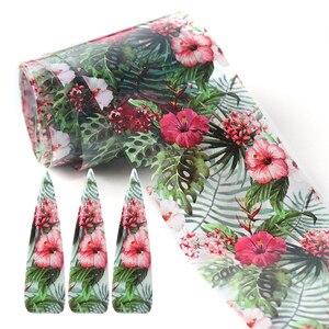 Image 3 - 1 กล่องผสมเล็บฟอยล์ Decals ชุดดอกไม้พิมพ์กาวกาวกาวฟิล์มกระดาษสีสันดอกไม้ 3D Charm อุปกรณ์เสริมเคล็ดลับ CHXKH40 54
