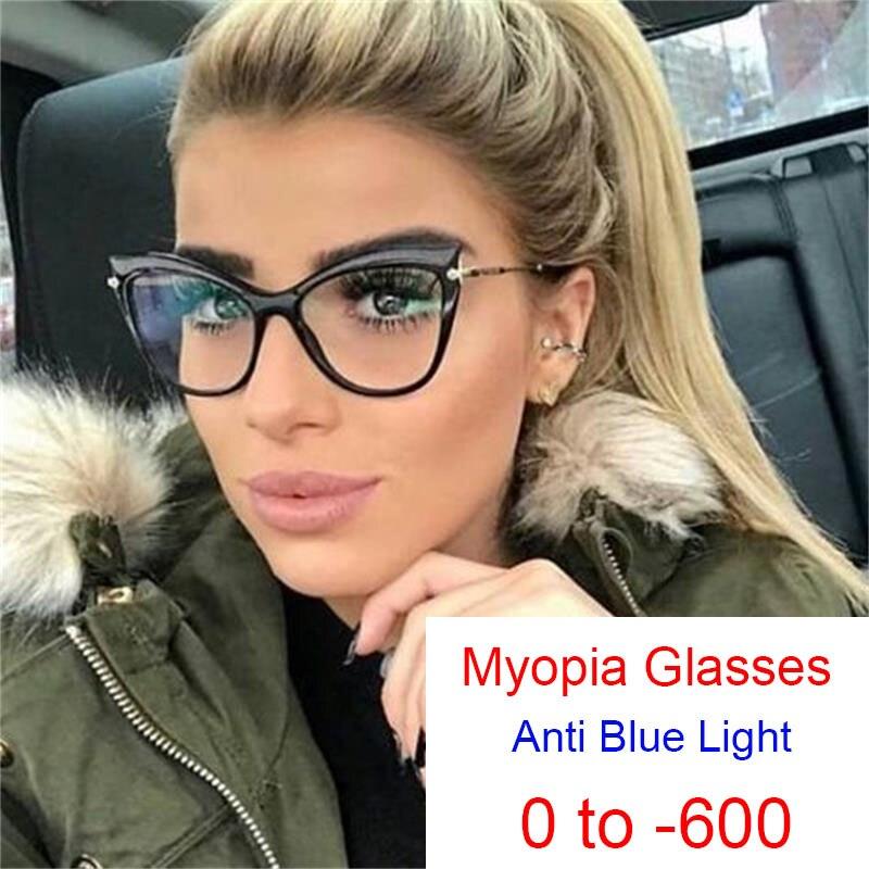 Claro ojo de gato gafas de miopía con receta mujeres computadora Filtro de bloqueo azul rayos marcos de anteojos con dioptrías 0-6