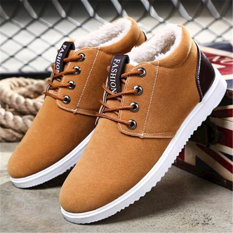 2019 New Male Shoes Adult Men Boots Lace Up Plush Warm Snow Winter male