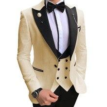 Men Suits Tuxedos Blazer Pants Vest Groom Wedding-Suit Champagne Slim-Fit White Formal