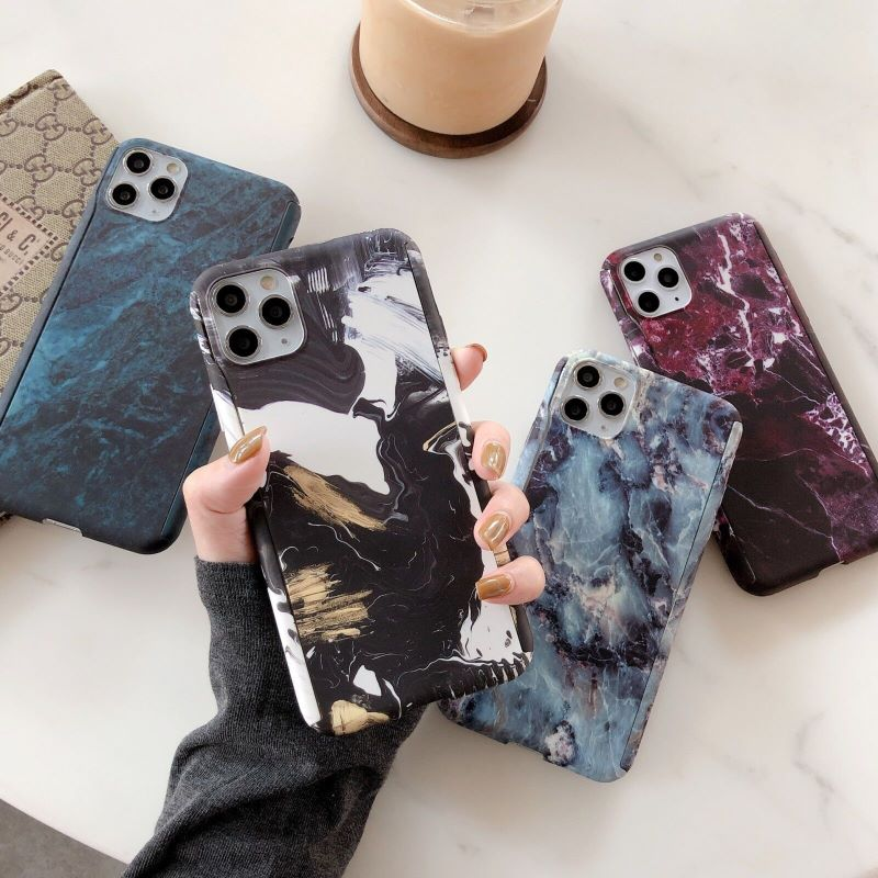 <font><b>360</b></font> Degree Full Body Protect Plastic Luxury Flower Marble Stone Painted Hard Case For iPhone11Pro max 6 <font><b>6S</b></font> 7 8 Plus X XS MAX XR image