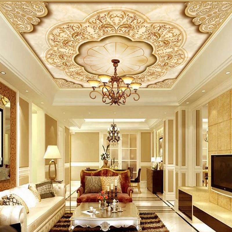 Пользовательские 3D фото обои Европейский Стиль Цветочный узор потолочное украшение росписи гостиной обои для потолка спальни живопись