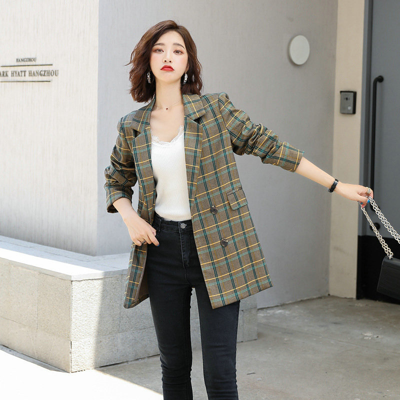 Casual Notched Collar Double Breasted Plaid Blazer Retro Women Full Sleeve Female Grid Suit Coat Women Jacket Office Ladies 2019